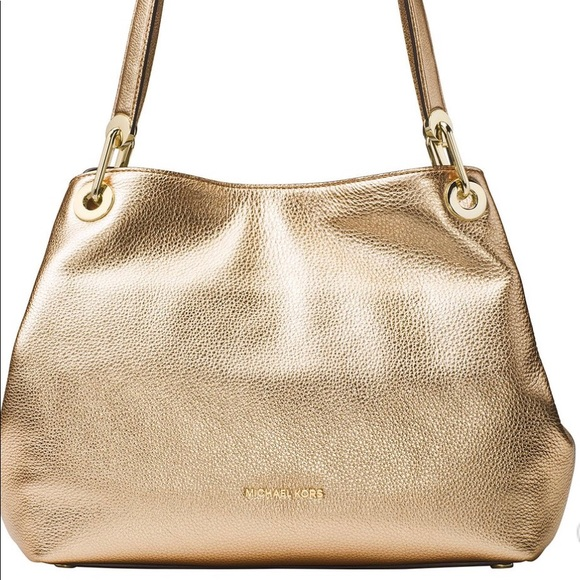 53893f43250b Michael Kors Bags | Sold Raven Large Gold Leather Nwt | Poshmark